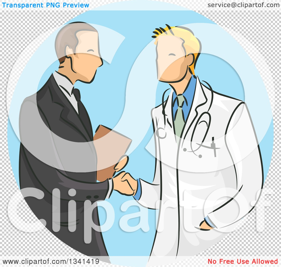 Clipart of a Sketched White Male Doctor Shaking Hands with a.