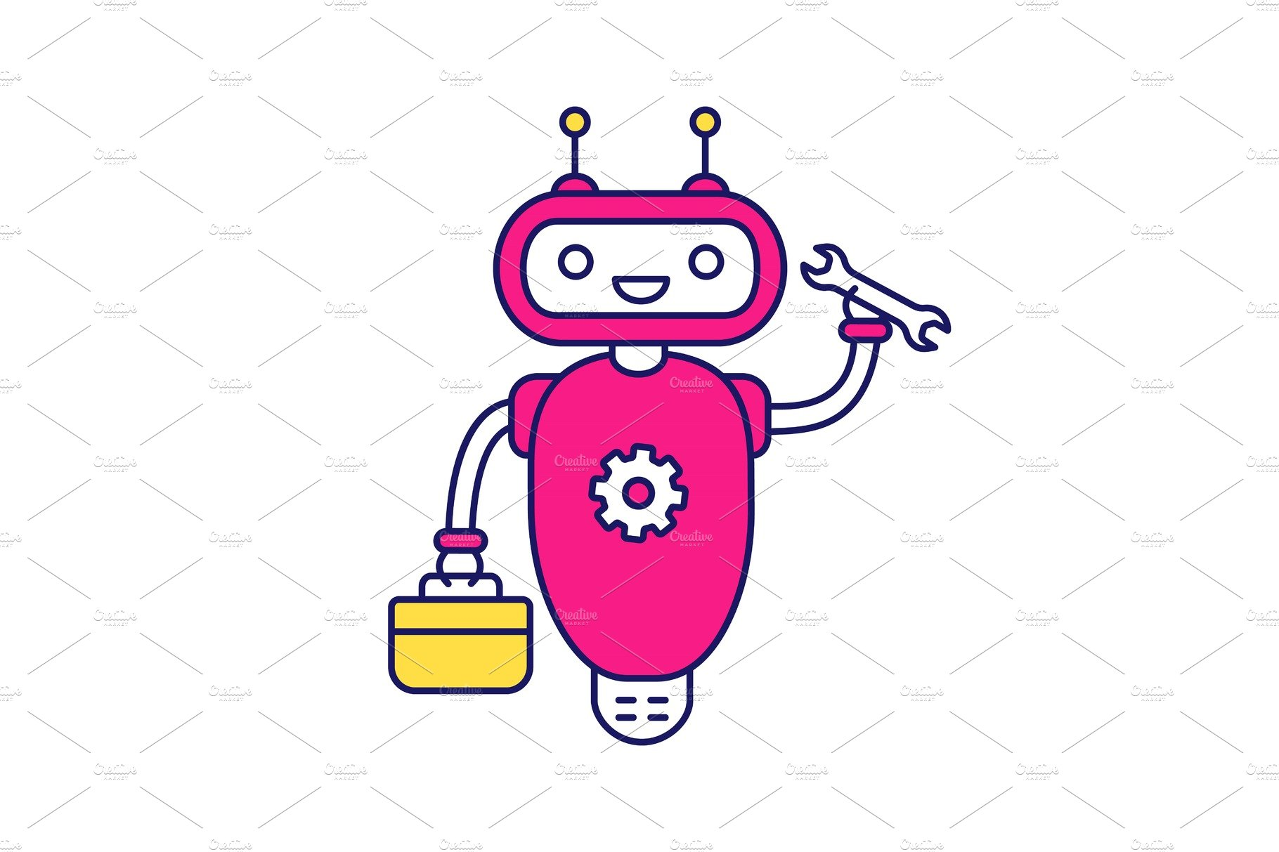Repair chatbot color icon.