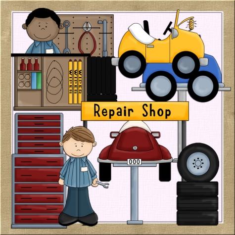 Car repair shop clipart.