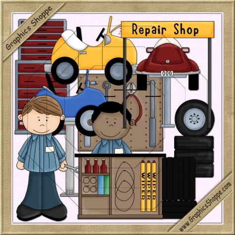 Car repair shop clipart.