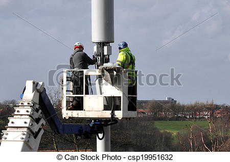 Stock Photos of Telecommunication Mast Being Repair.