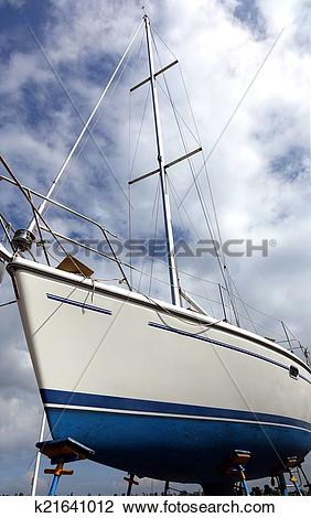 Stock Photo of Sailboat on a Scaffold for Repair k21641012.