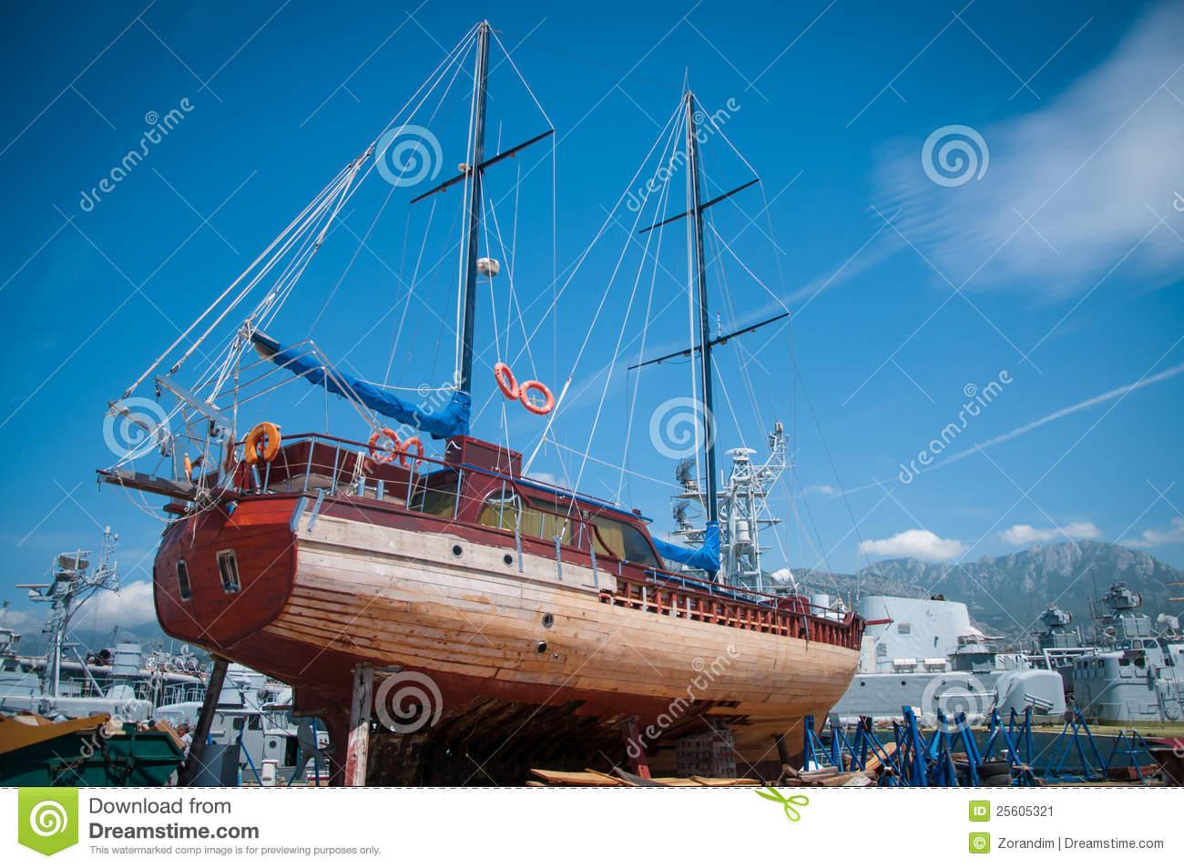 Sailboat Repair Stock Image.