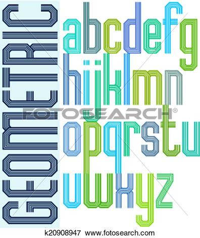 Clip Art of Retro colorful font with repeated lines, geometric.