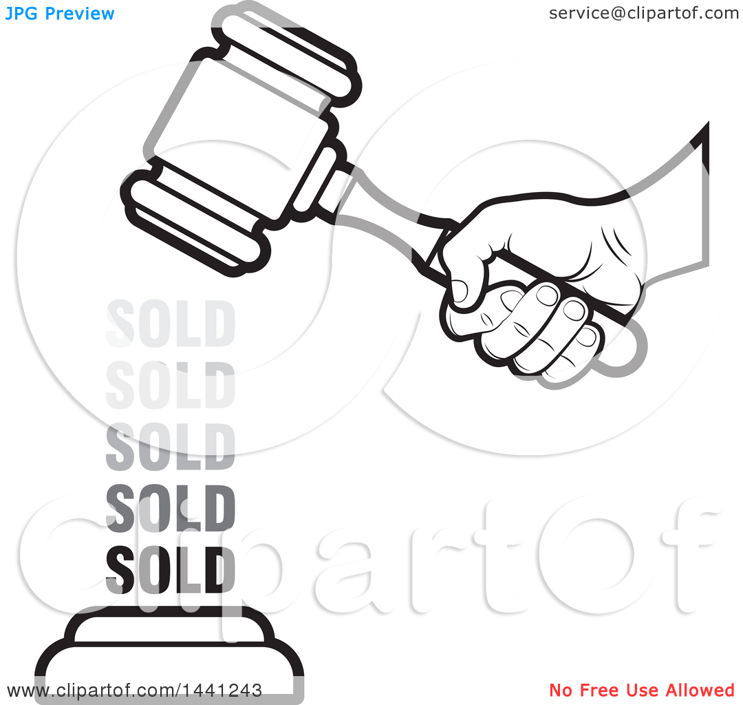 Clipart of a Black and White Hand Banging an Auction Gavel with.