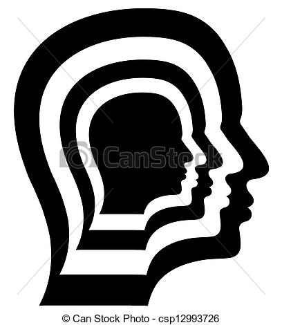 Clip Art of Repeated Head.