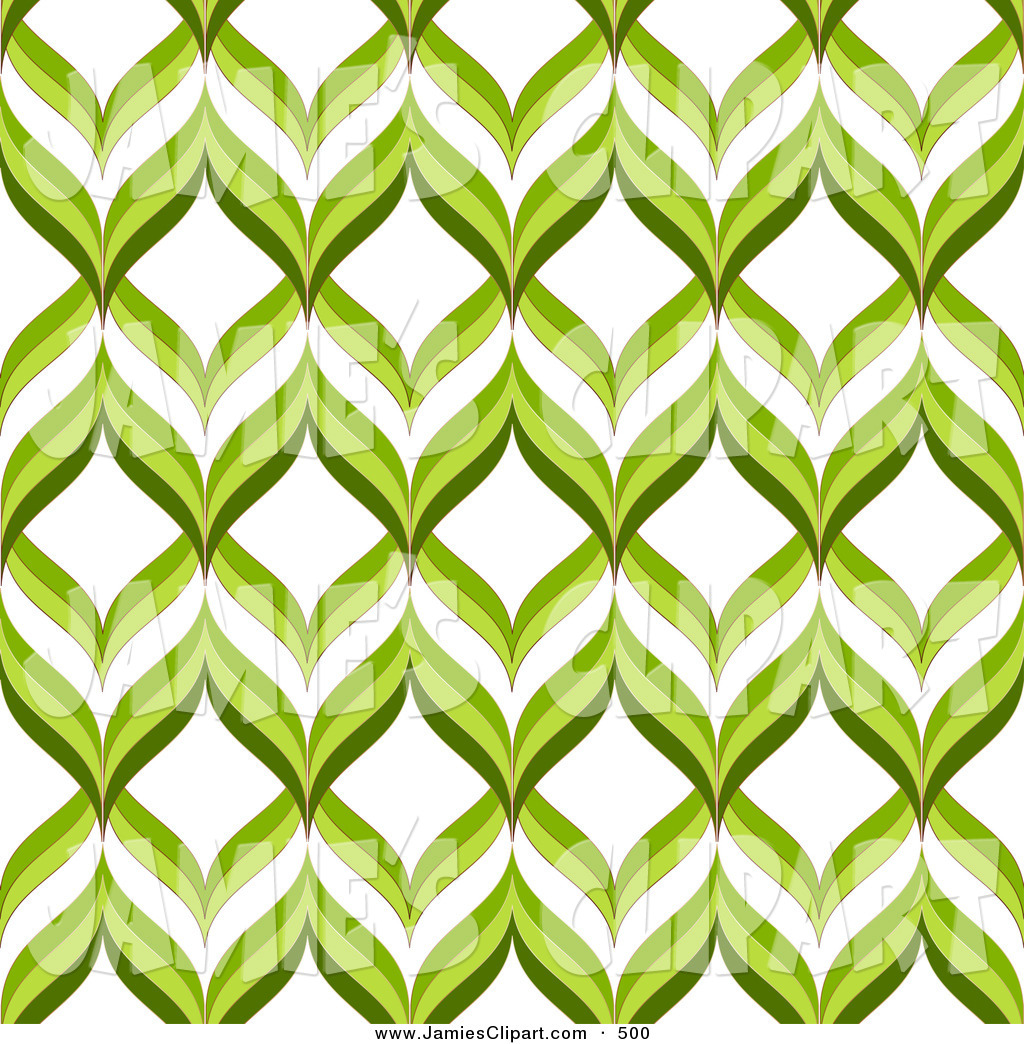 Clip Art of a Retro Green and White Repeating Patterned Background.