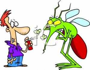 Clipart of a Scared Person Spraying Insect Repellent On a Huge.