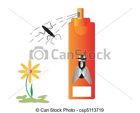 EPS Vectors of Insecticide insects and repellent, white place for.