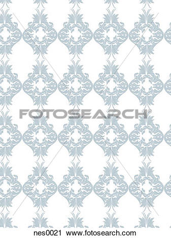 Clipart of A decorative repetitive damask pattern created in a.