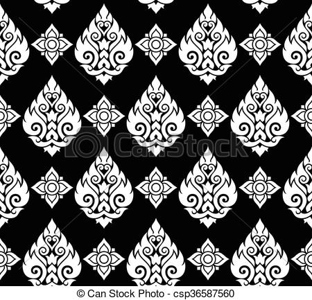 Clip Art Vector of Seamless Thai pattern, repetitive.