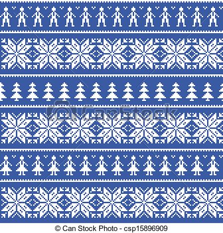 Vector Clipart of Nordic christman seamless pattern.
