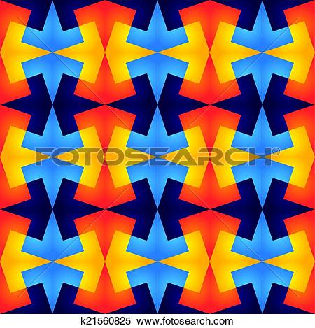 Clipart of geometric vibrant colorful seamless repetitive pattern.