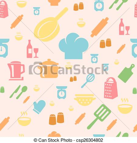 Vector Clipart of Seamless repetitive pattern with kitchen items.
