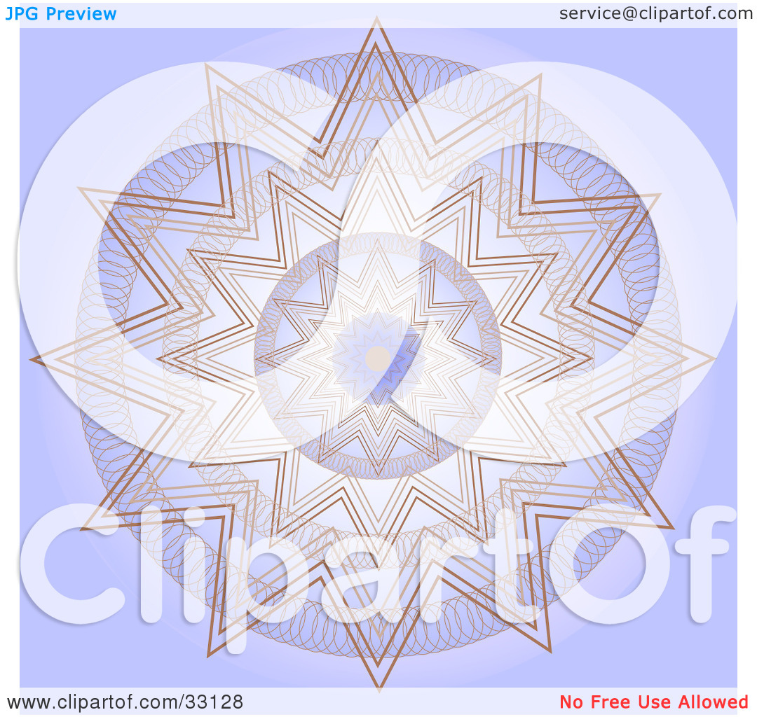 Clipart Illustration of a Repetitive Purple And Brown Kaleidoscope.