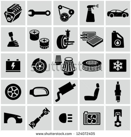 Vector Images, Illustrations and Cliparts: Car parts icons.