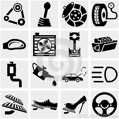 Car Parts Vector Icon Set On Gray Royalty Free Stock Image.