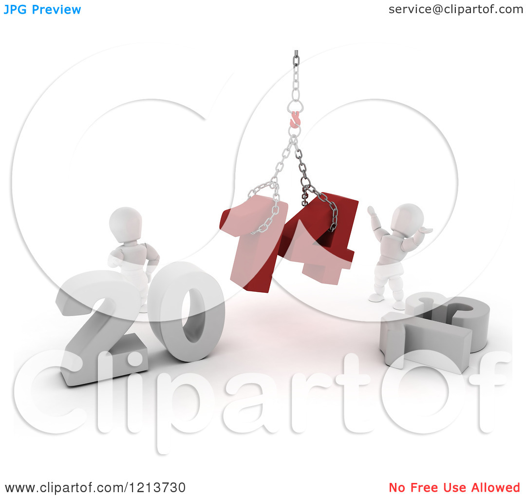 Clipart of 3d New Year White Characters Replacing 2013 with 2014.