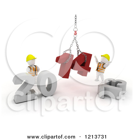 Clipart of 3d New Year White Construction Characters Replacing.