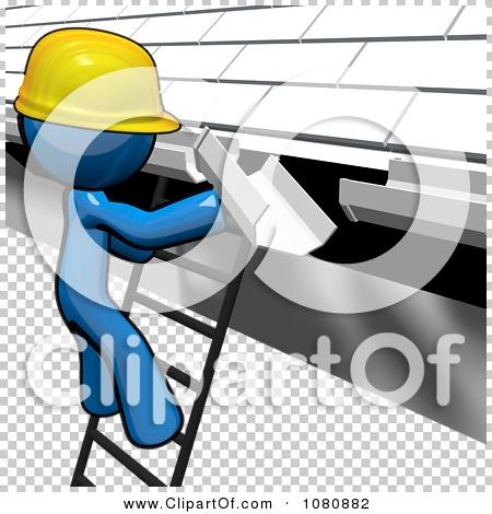 Clipart 3d Blue Man Construction Worker Replacing Gutters.