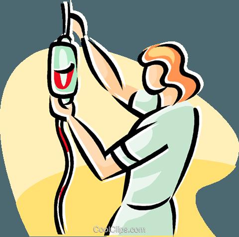 nurse replacing a bag of blood Royalty Free Vector Clip Art.