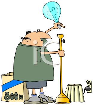 Cartoon of a Fat Husband Replacing a Light Bulb with a Large.