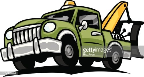 cartoon tow truck Clipart Image.