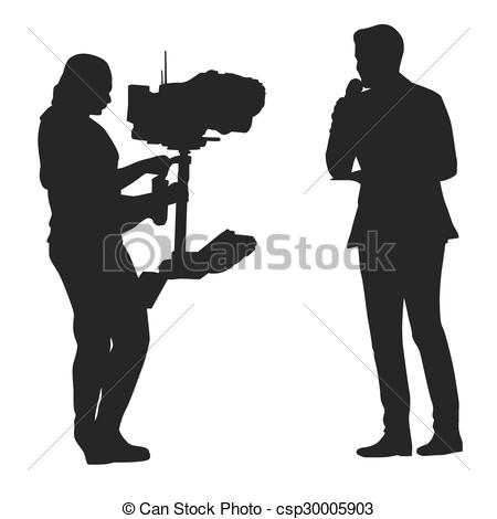 Vector Clipart of Reporter and cameraman silhouettes csp30005903.