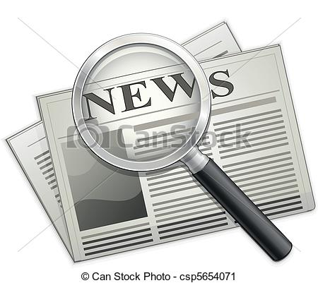 Vector Clip Art of Newspaper and Magnifying glass. Vector.