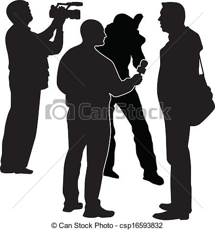 Vectors of interview with star, moderator, cameraman and.