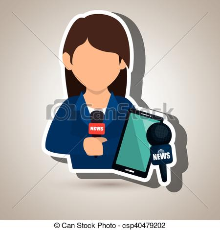 Vector Clipart of woman news smartphone reportage vector.