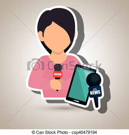 EPS Vectors of woman news smartphone reportage vector illustration.