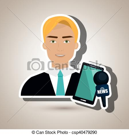EPS Vectors of man news smartphone reportage vector illustration.