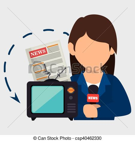 Vectors Of Woman Tv Reportage News Vector Illustration Eps 10