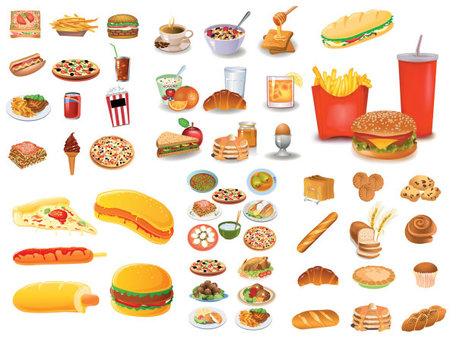 Repostería desayuno comida rápida, free vectors.