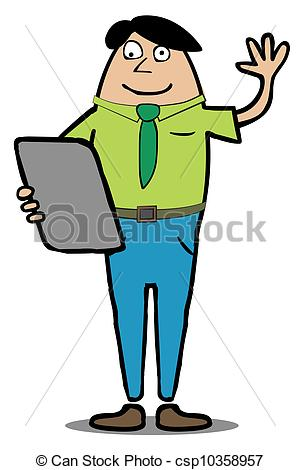 Clipart Vector of Man with Tablet PC say Hi.