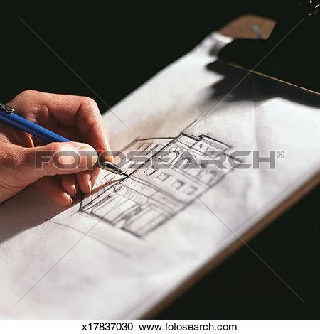 Stock Photography of Hand drawing representation of building.