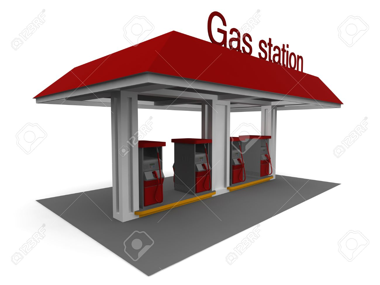 Isolated 3D Representation Of A Gas Station With Shadows Stock.