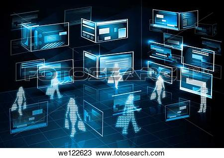 Stock Photo of Illustrative representation of computer networking.