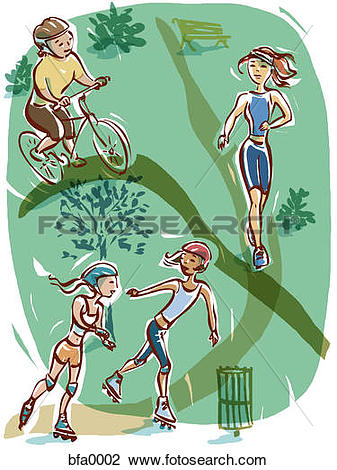 Clip Art of A graphic representation of active lifestyle bfa0002.