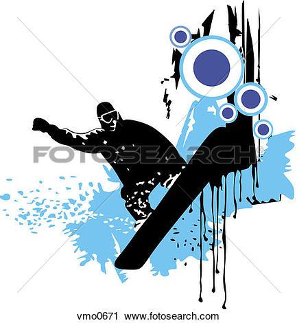 Clipart of A graphic representation of a man snowboarding vmo0671.
