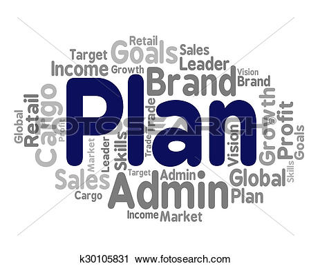 Clipart of Plan Word Represents Project Proposition And Agenda.