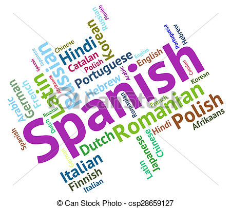 Clip Art of Spanish Language Represents Speech Spain And Foreign.