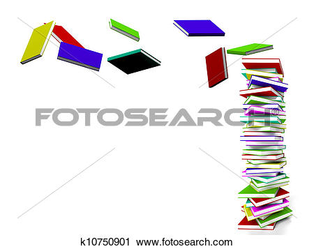Clipart of Stack Of Books With Some Flying Represents Learning And.
