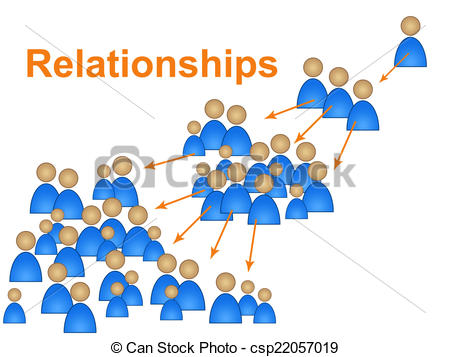Clipart of Relationships Network Represents Social Media Marketing.