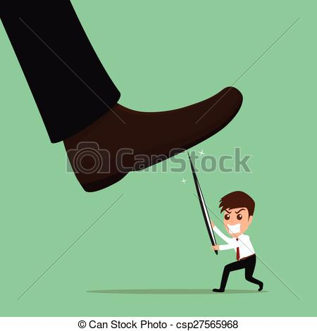 Clip Art Vector of Underdog businessman fighting against.
