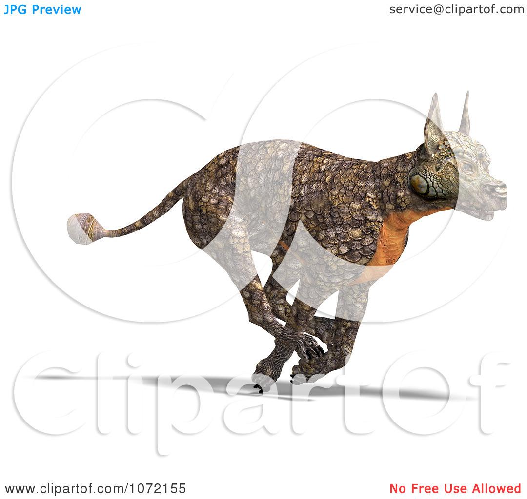 Clipart 3d Reptilian Alien Dog Running.