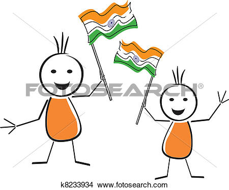 Clipart of A card of republic day with two cute character holding.
