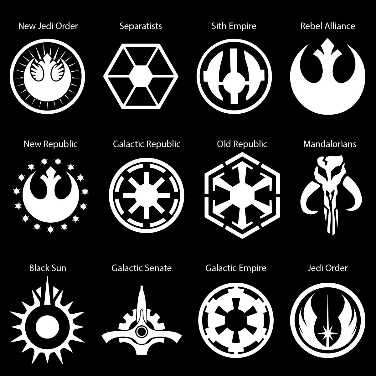 Star Wars Logos Car Decal.