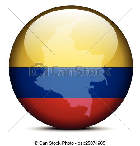 Vector Clipart of Map on flag button of Republic of Colombia.
